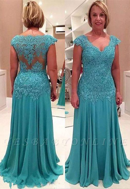 Elegant A-line Cap Sleeves Floor Length Lace Mother of Bride Dresses