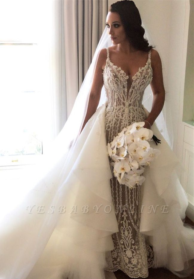 Fashionable Sexy Mermaid Lace Wedding Dresses with Detachable Train