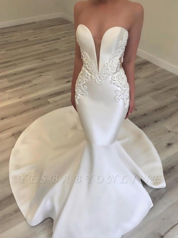 Sexy Sweetheart Mermaid Wedding Dresses | Sleeveless Beading Bridal Gowns