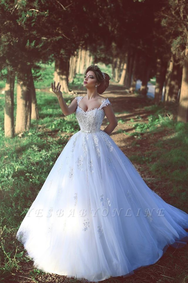 Ball-Gown White Glitter Beading Lace Appliques Straps Wedding Dresses