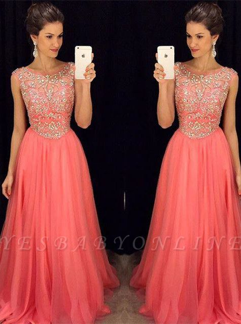 Sleeveless Crystal  Popular Scoop A-Line Prom Dress
