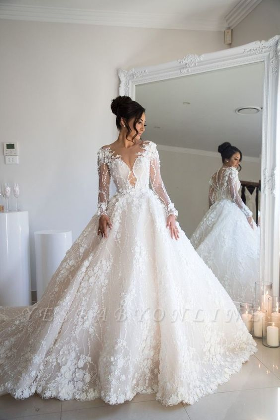 Jewel Long Sleeve Beaded A line Wedding Dresses With 3D Flower