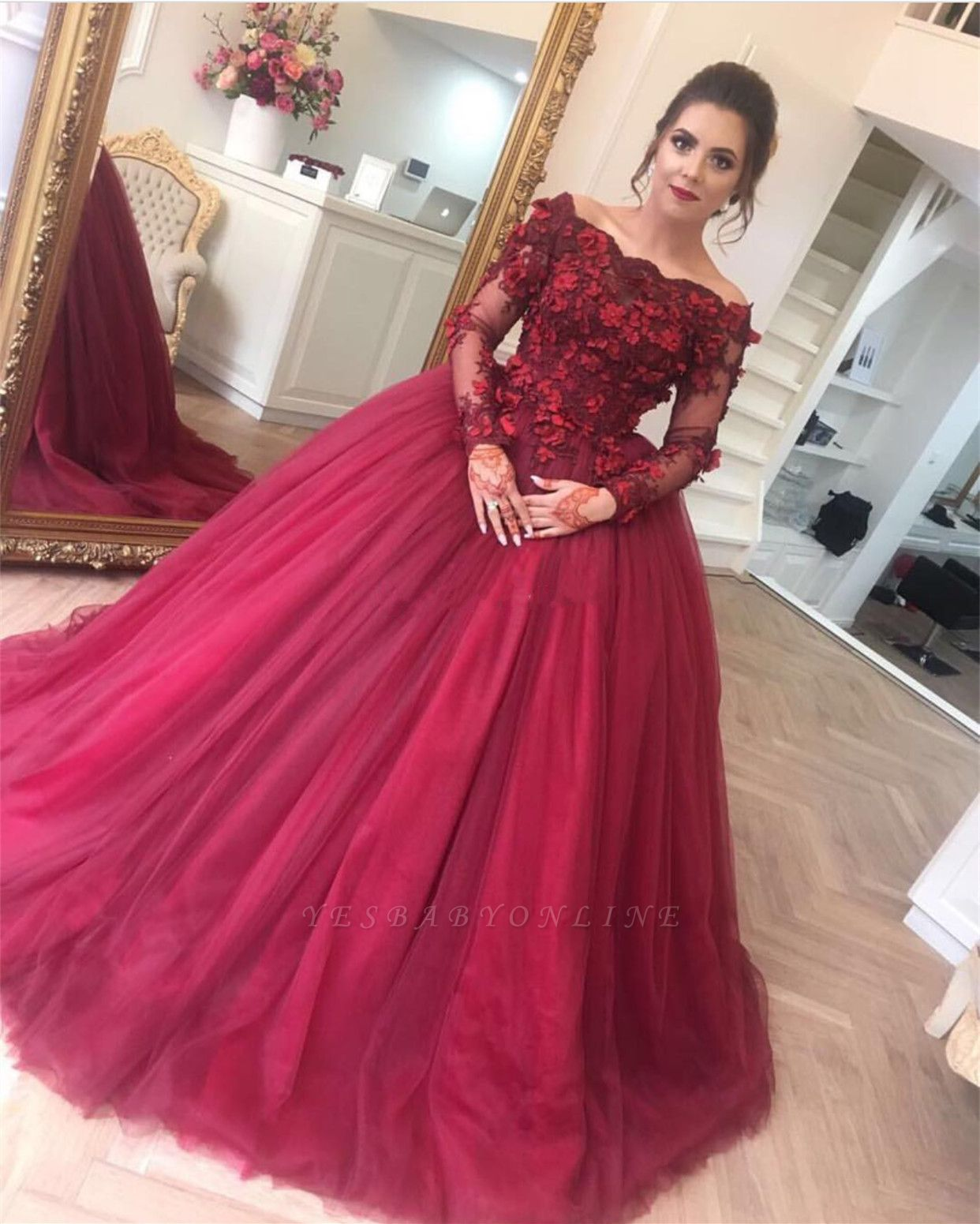 Long-Sleeves Off-The-Shoulder Applique Burgundy Ball Gown Prom Dresses