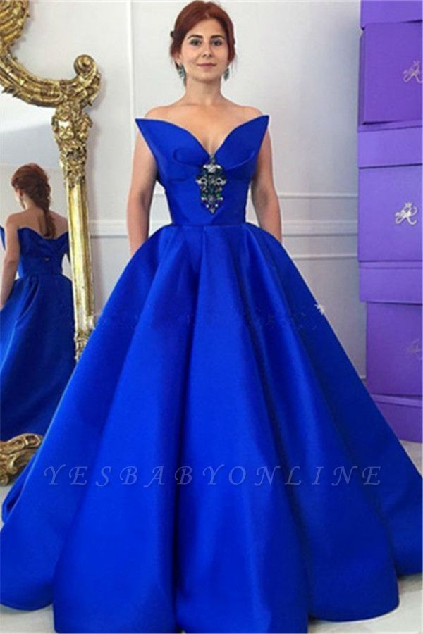 Floor-Length Royal-Blue Ball-Gown Elegant Crystal Prom Dress