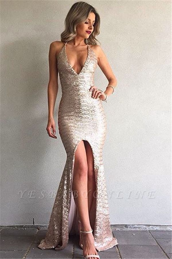 Mermaid Sequined Backless Sexy Front-Split V-Neck Prom Dress