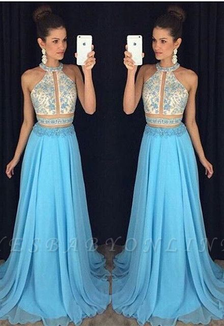 Sweep-Train Halter Newest Lace-Appliques Sleeveless A-line Prom Dress