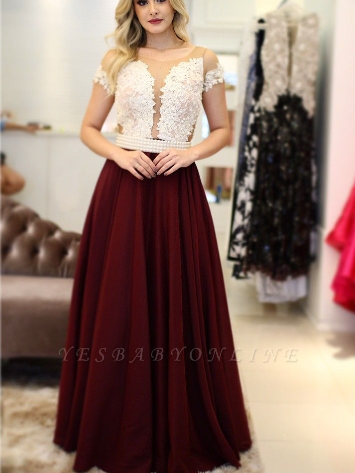 Short-Sleeves Pearls A-Line Vintage Scoop Prom Dresses