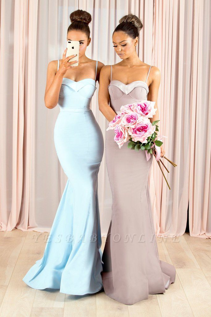 Elegant Spaghetti-Strap Bridesmaid Dresses | Sleeveless Mermaid Wedding Party Dresses