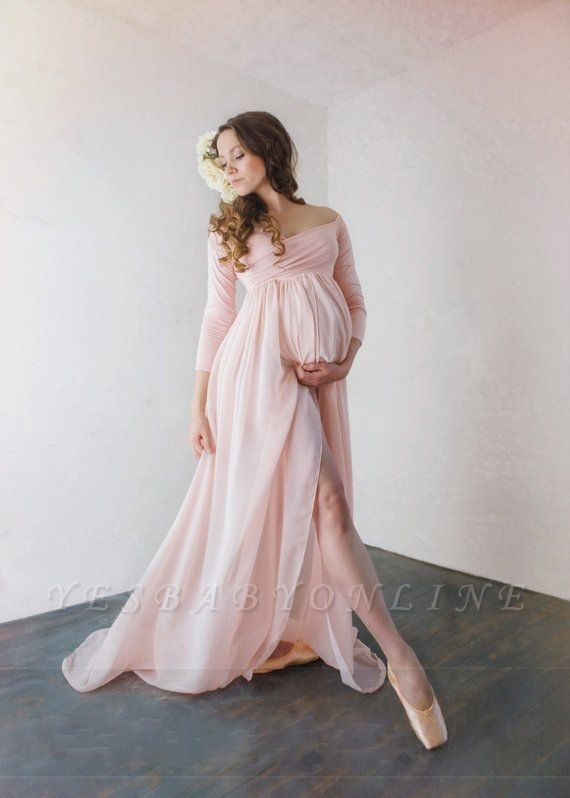 A-Line Off-The-Shoulder Pregnant Dresses | Sexy Side-Slit  Maternity Evening Dresses