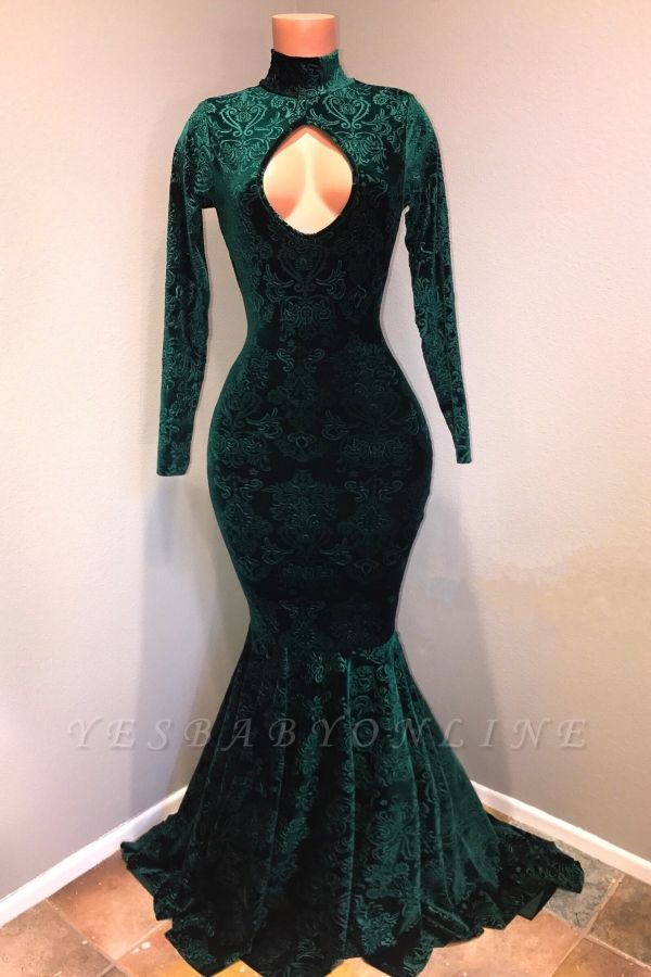Mermaid Velvet Lace Evening Dresses | High Neck Long Sleeves Keyhole Prom Dresses