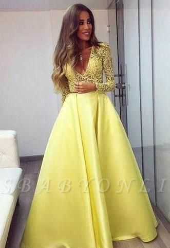 Gorgeous Satin Long Lace Yellow Sleeves V-neck Prom Dresses