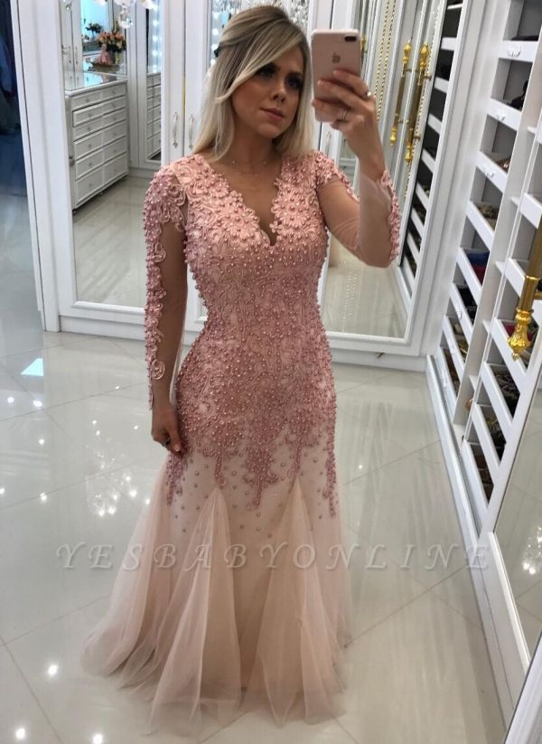 Luxury Mermaid Pearls Prom Dresses | V-Neck Long Sleeves Lace Applique  Evening Dress