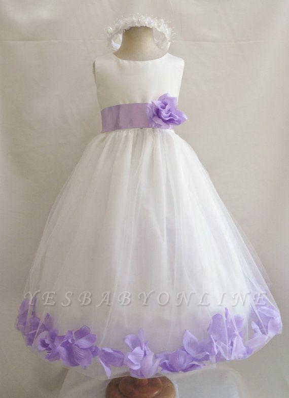 White Tulle A-Line Flower Girl Dresses | Floor Length Girl Party Dress with Handmade Flowers