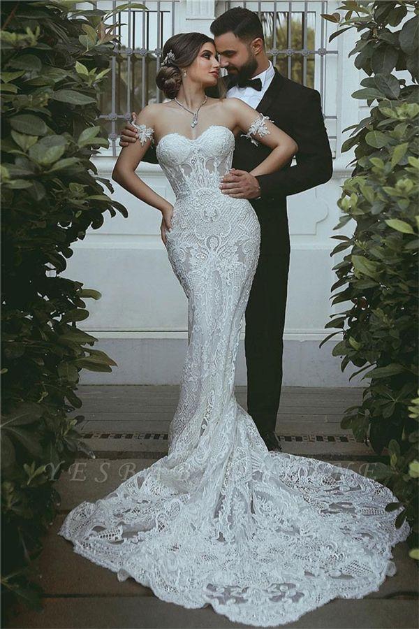 Sexy Mermaid Lace Wedding Dress | Court Train Sweetheart Bridal Dresses