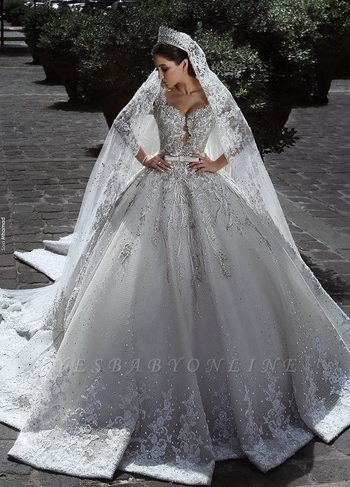 Luxury Sweetheart Long Sleeves Ball Gown Wedding Dresses | Couture Bridal Gowns