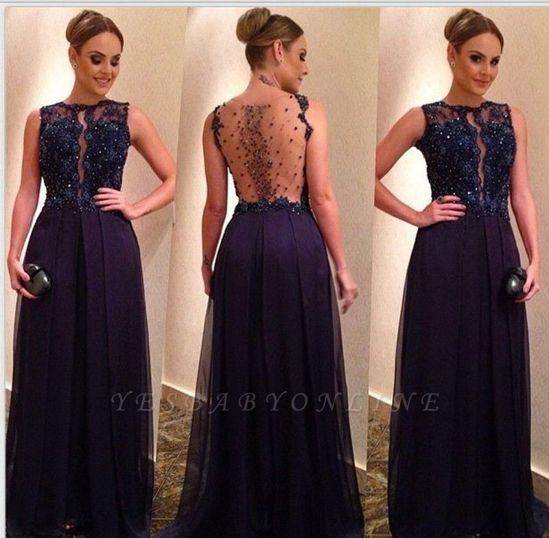 Newest A-Line Crystal A-Line Appliques Sleeveless Prom Dress