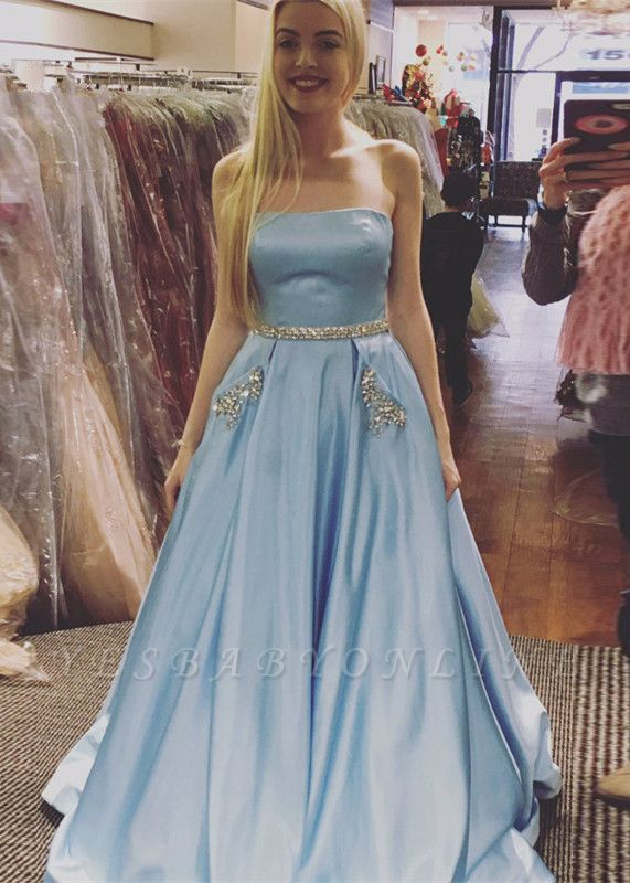 Crystals A-line Strapless Newest Sky-Blue Sleeveless Prom Dress