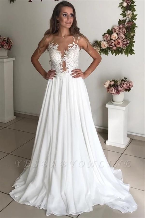 Elegant Jewel Straps Applique Illusion Back Ruffles A Line Wedding Dresses