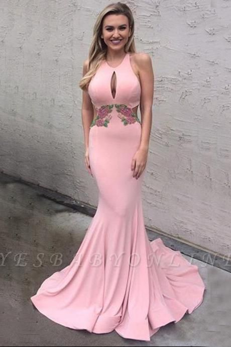 Elegant Pink Mermaid Prom Dresses Keyhole Neck Open Back Embroidery Evening Gowns