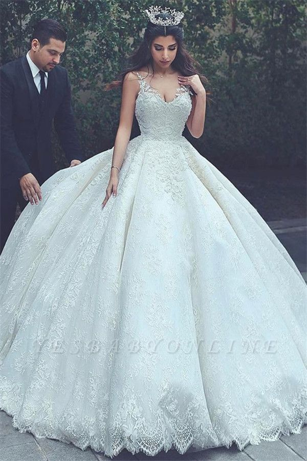 Appliques Lace V-neck Latest Princess Sleeveless Wedding Dress