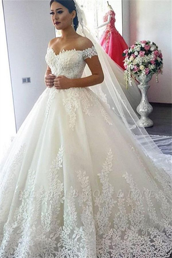 Glamorous A-Line Off-the-Shoulder Lace Applique Wedding Dress