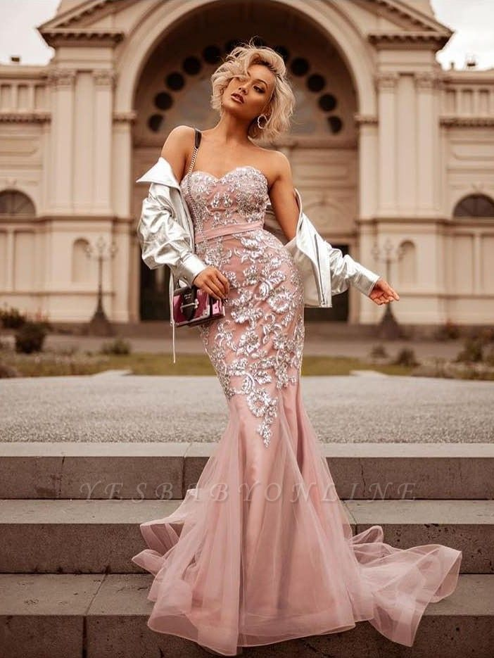 Mermaid Pink Shiny Sequin Sweetheart Appliques Prom Dresses | 2019 Evening Gowns