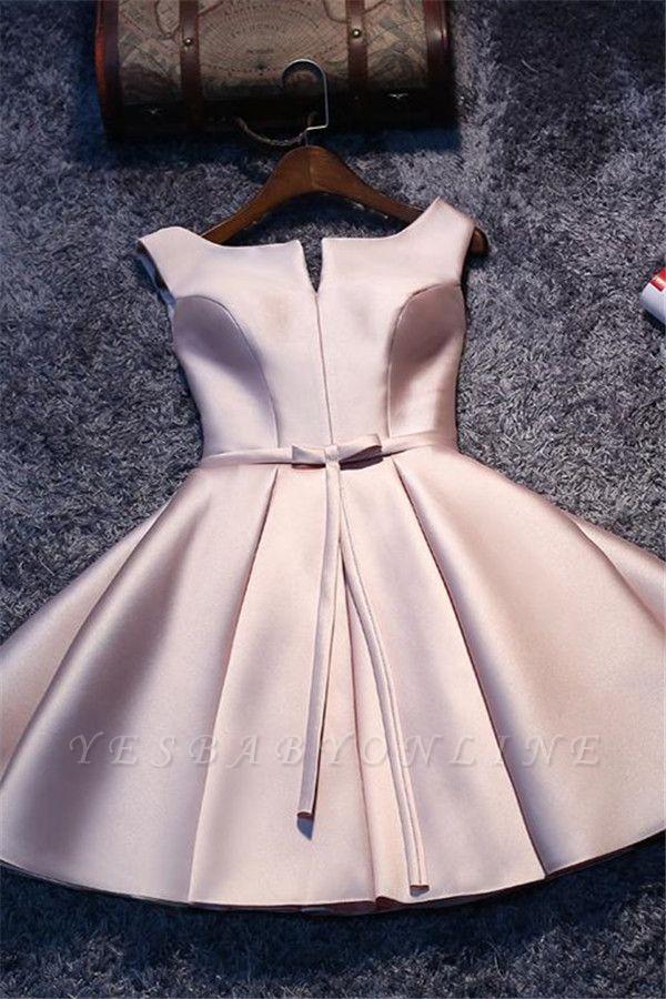 2019 Glossy Homecoming Dresses A-Line Sleeveless Sash Cocktail Dress