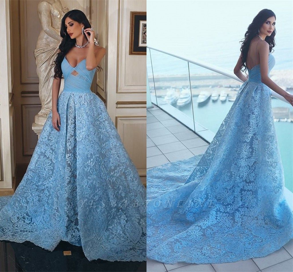 Glamorous Ruffles Sweetheart A-line Blue Lace Prom Dress