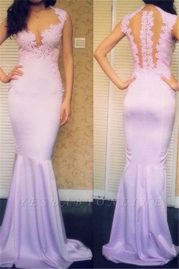 Appliques Sleeveless Popular Sweep-Train Mermaid Sexy Prom Dresses