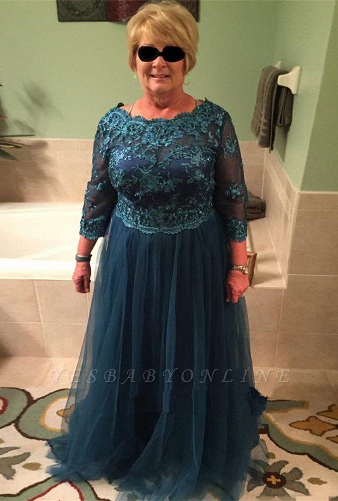 Elegant A-line Long Sleeves Floor Length Lace Mother of Bride Dresses