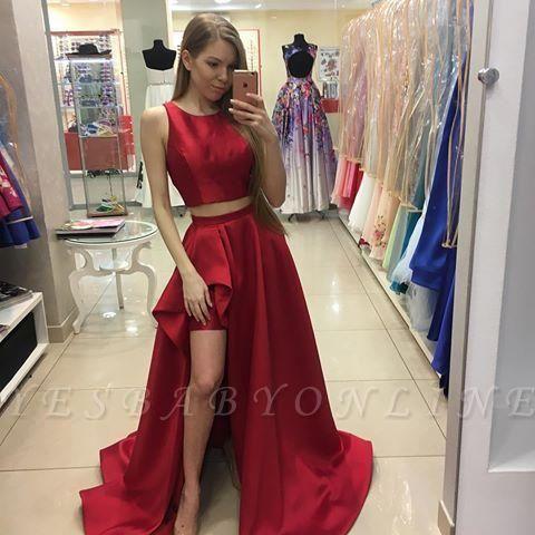 Two-Piece Newest Hi-Lo A-line Red Jewel Prom Dress