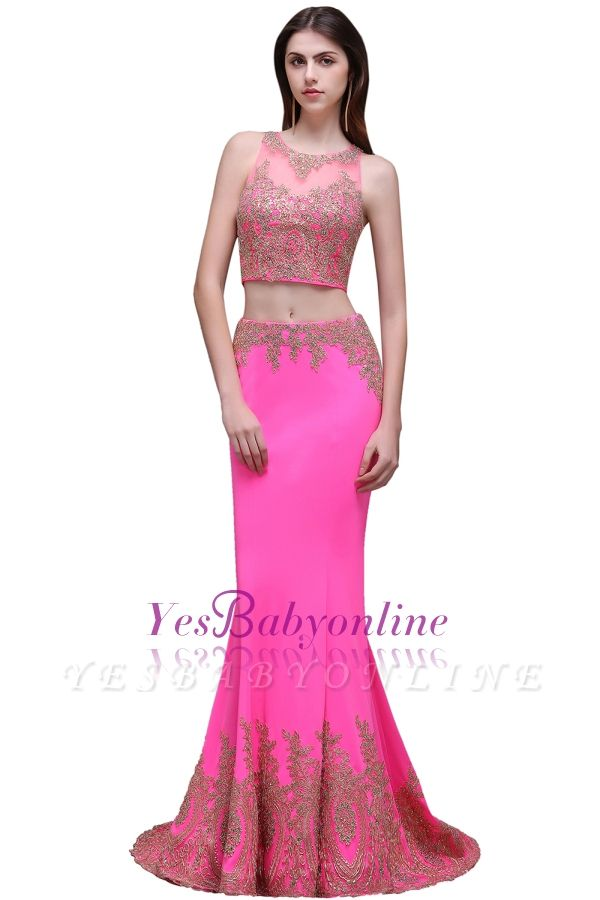 Zipper Appliques Mermaid Sexy Sleeveless Floor-Length Lace Evening Gown