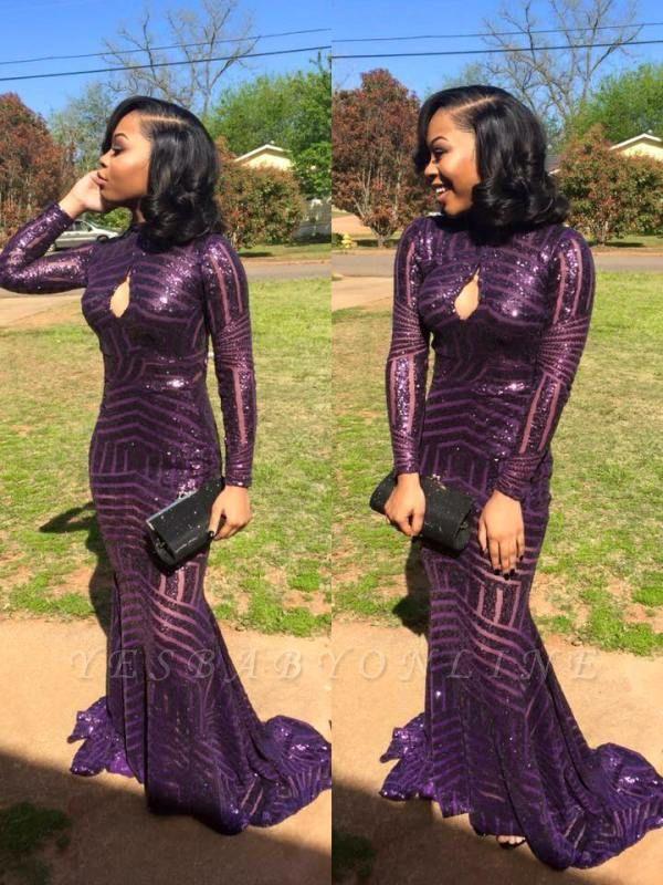 High-Neck Long-Sleeve Sequins Mermaid Keyhole Prom Dress