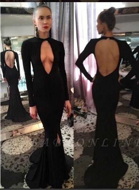 Sexy Long-Sleeve Prom Dresses| Backless Mermaid Black Evening Dresses
