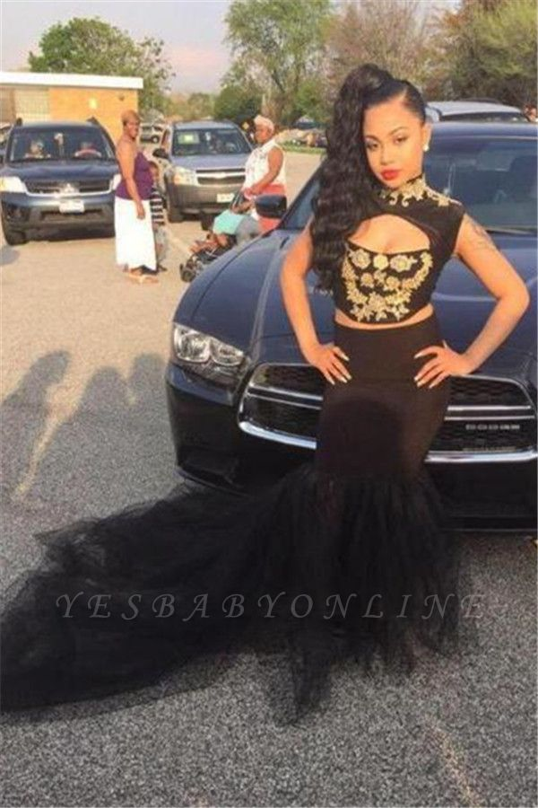 Sleeveless Two-Pieces Black High-Neck Sexy Mermaid Prom Dress