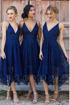 Sleeveless A-Line Bridesmaid Dresses   V-Neck Lace Wedding party dresses