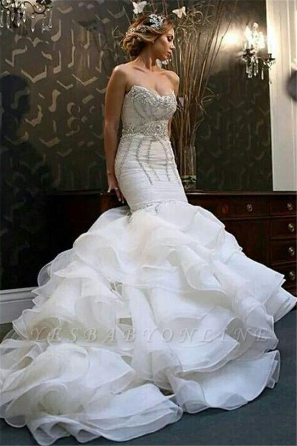 Newest Sexy Mermaid Sweetheart Wedding Dreses Crystal Ruffles Bridal Gowns