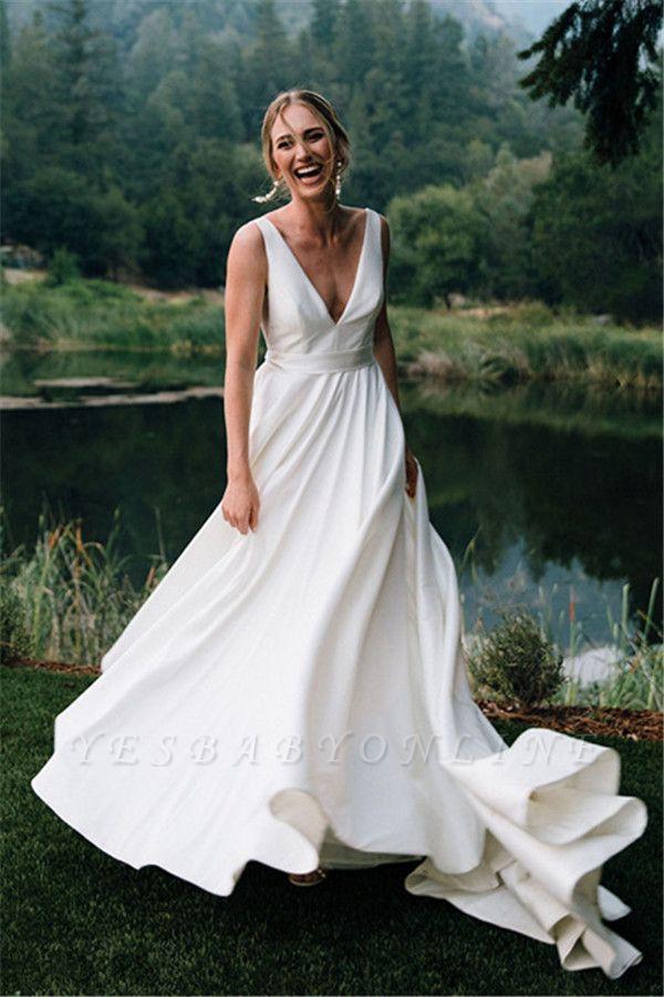 V-neck Sleeveless A-line Stiff Wedding Dresses | Grace Bridal Gown