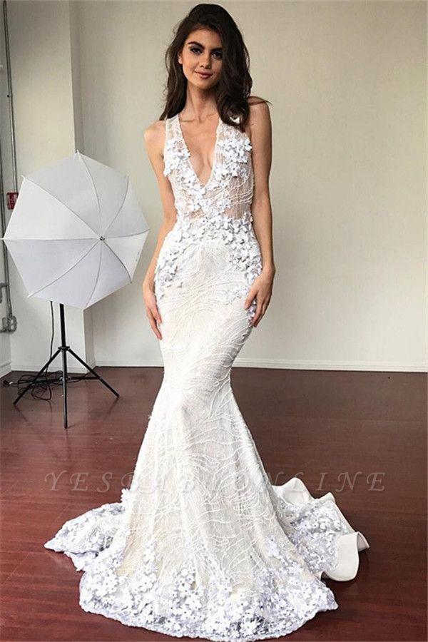 V-neck Sleeveless Sexy Mermaid Wedding Dresses | Elegant Lace Flowers Bridal Gowns