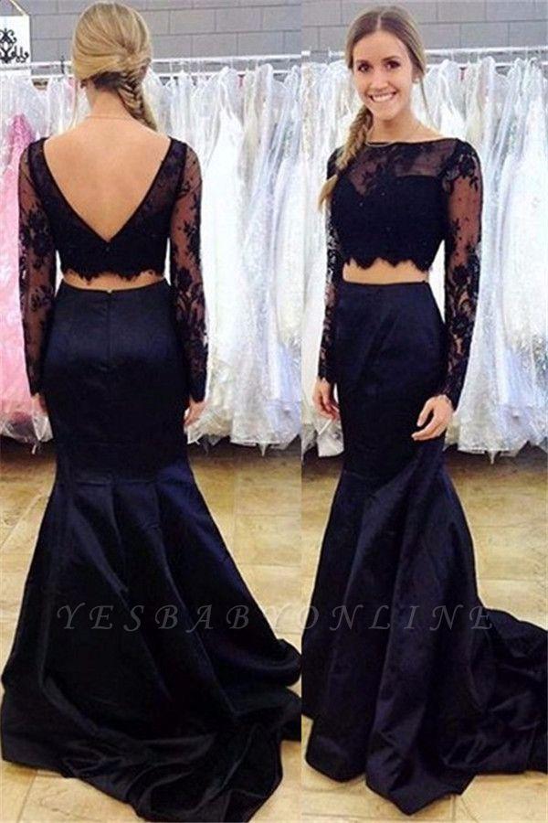 Lace Two-Piece Mermaid Long-Sleeve Bateau Black Open-Back Prom Dress