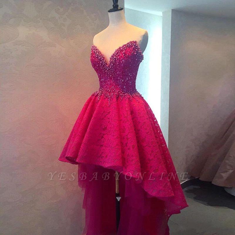 Glamorous Sweetheart Lace Beadings Hi-lo Homecoming Dress
