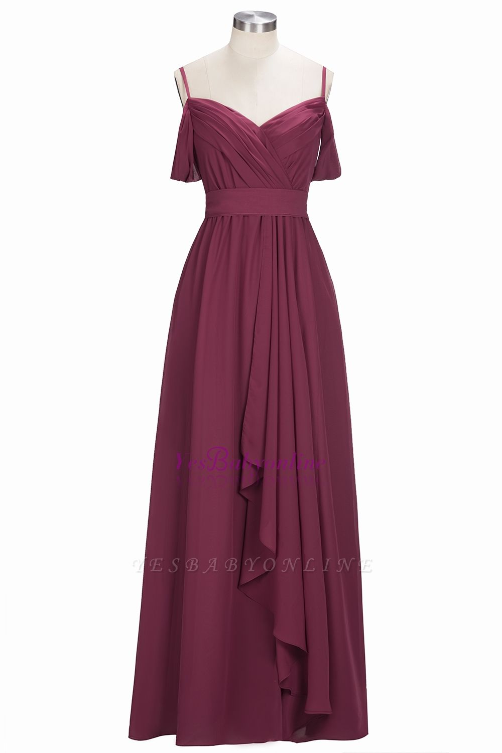Chiffon Burgundy Bridesmaid Dresses,Spaghettis Straps Long Bridesmaid Dress