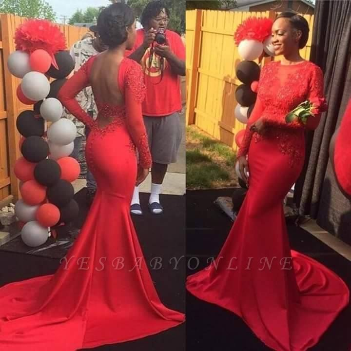 Red Sleeves Lace Backless Long Jewel Mermaid Prom Dress