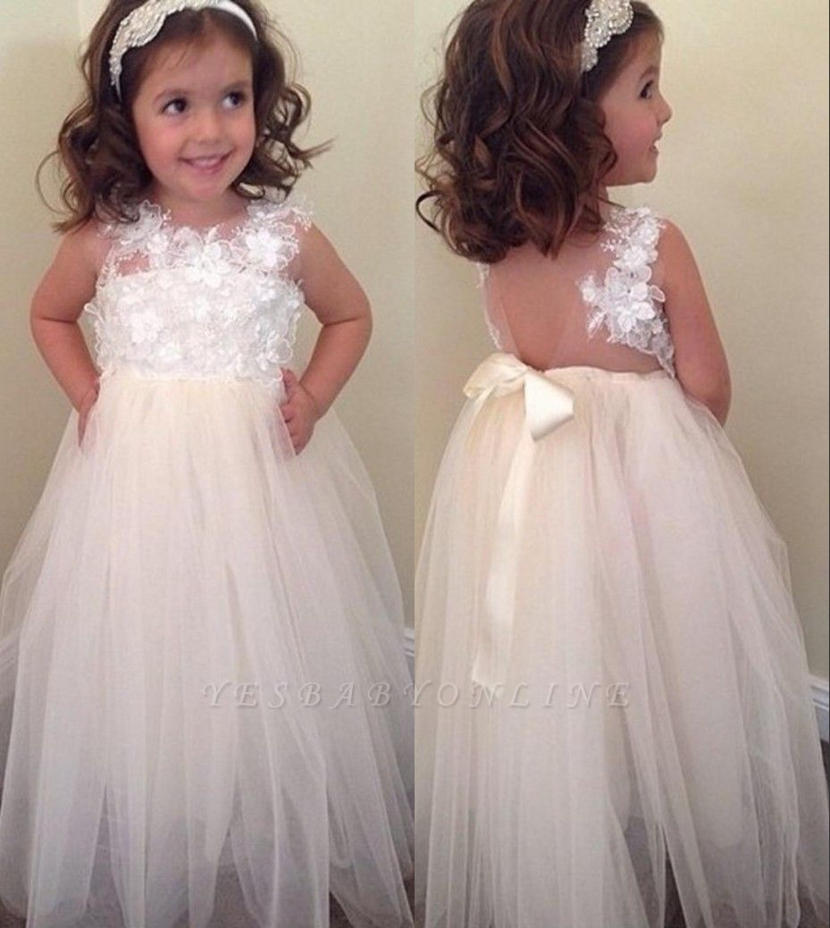 Floral-Appliques A-line Cute Bowknot Floor-Length Flower-Girl-Dresses