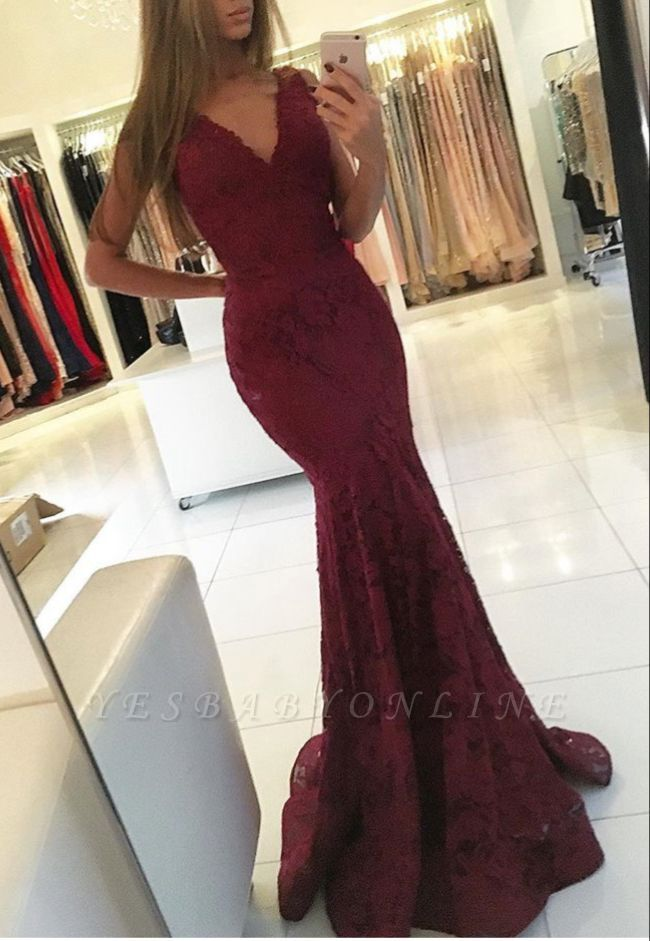 Lace Sleeveless V-neck Mermaid Newest Sweep-Train Prom Dress