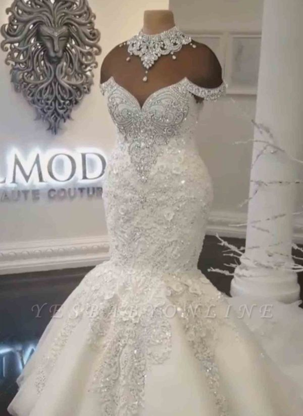 Glamorous Crystals Sexy Mermaid Wedding Dresses | Off-the-Shoulder Lace Appliques Bridal Dresses