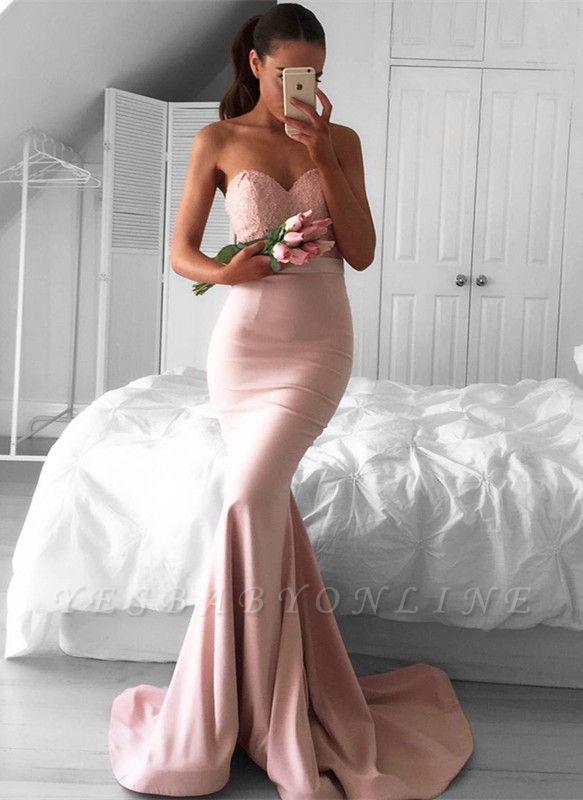 Sleeveless Newest Sweetheart Sweep-Train Mermaid Prom Dress