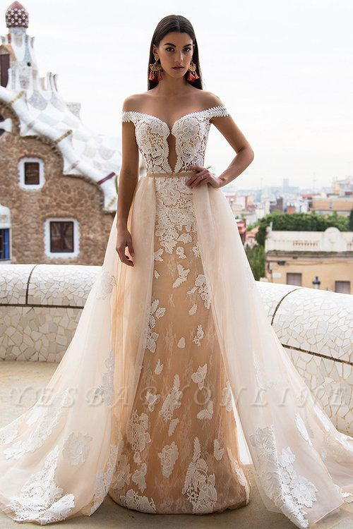 Gorgeous Off The Shoulder Lace Column Wedding Dress With Detachable Skirt