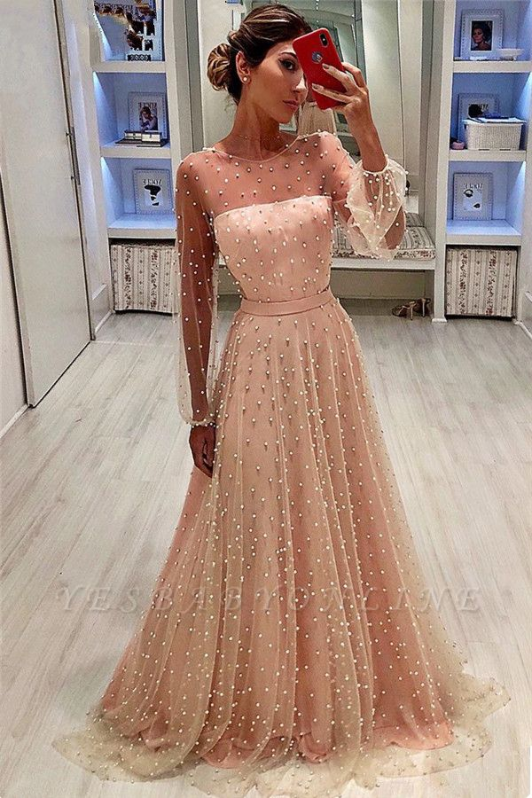 Sheer Tulle Bubble Sleeves Cheap Prom Dresses 2019   Full Beads Long Sleeves Evening Gowns BC0617