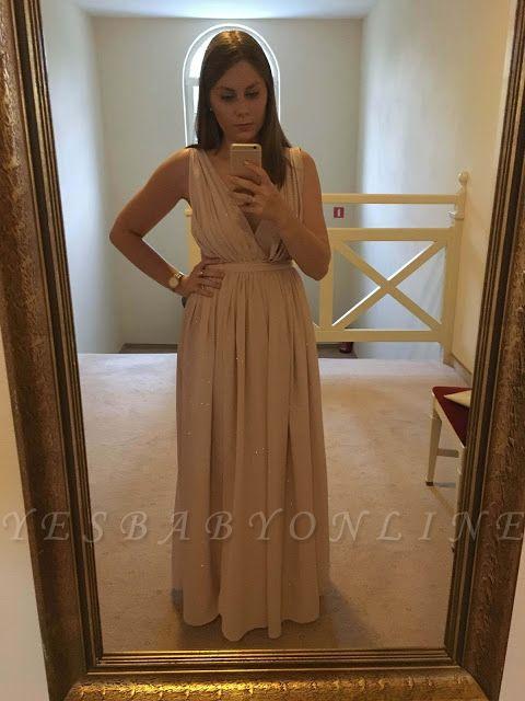 Elegant Sequins  Sleeveless V-Neck Long Maternity Prom Dress